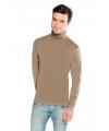 Luxe col t-shirt lichtbruin voor heren
