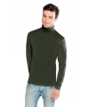 Luxe col t-shirt olijf groen voor heren